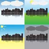 The city at different times of the year. A set of four images Stock Photo