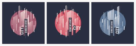 City dimensions. Vector t-shirt abstract geometric dynamic designs with styled urban skyline. royalty free illustration