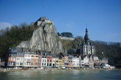 Dinant from across the Muese River royalty free stock images