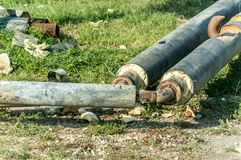 City district heating pipes with insulation welded together for new hot water pipeline system close up selective focus.  royalty free stock photography