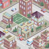 City district in isometric 3d style. Vector town. Set of buildings, houses, townhouses, multi-family homes, shop, bar, school, hos. Pital, car parking. Colorful