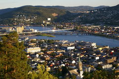 City divided by a river. Looking down on Drammen, a city in Buskerud County, Norway, divided by the Drammen River Royalty Free Stock Photos