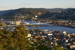 City divided by a river. Looking down on Drammen, a city in Buskerud County, Norway, divided by the Drammen River Royalty Free Stock Image