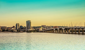 City Dnipropetrovsk and river Dnieper Royalty Free Stock Image