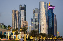 The city of Doha, Qatar at blue hour Stock Photo