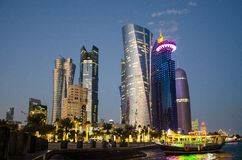 The city of Doha, Qatar at blue hour Royalty Free Stock Images