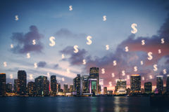 City with dollar signs in sky Stock Images