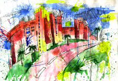 City and dome and drawing and architecture,. Solar city and Grid and art and   paint and  color Stock Photo