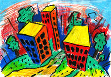 City and dome and drawing and architecture, stock illustration