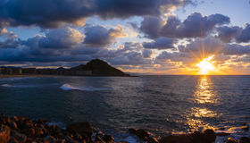 City of Donostia, sunset and sea Stock Image
