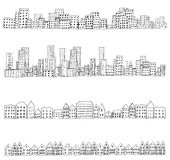 City doodle line. Set of 4 borders of european, dutch, urban houses. Hand drawn doodle city street sketch. Ink illustration. Vector Stock Image
