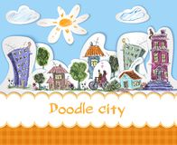 City doodle poster Stock Photos