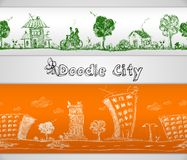 City doodle seamless border Stock Image
