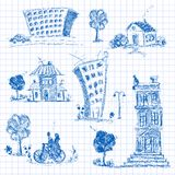 City doodle set Stock Image