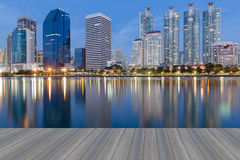 City downtown building with water reflection during twilight Royalty Free Stock Images