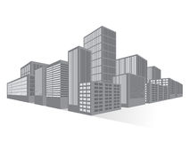 City Downtown Business District, Vector Flat Royalty Free Stock Photos