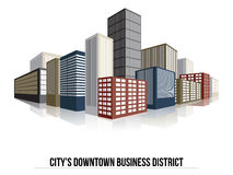 City Downtown Business District, Vector Flat Royalty Free Stock Image