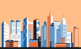 City downtown landscape. Skyscrapers in the town. Flat vector illustration. royalty free illustration