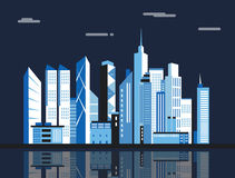 City downtown landscape. Skyscrapers in the town. Flat vector illustration. vector illustration