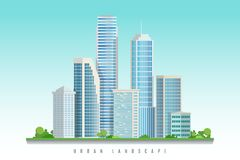City downtown landscape with skyscrapers.Vector illustration. Modern architecture skyscrapers with different shapes.Downtown landscape with blue background.City royalty free illustration