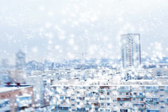 City downtown with modern buildings. winter time Royalty Free Stock Photography