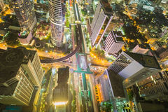 City downtown at night, Bird eyes view of Bangkok main traffic interchange, Long exposure Stock Image