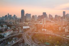 City downtown office building and highway interchanged before sunset. Bangkok Thailand Royalty Free Stock Image