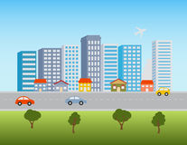 City downtown and shops. Big city downtown skyline with shops and traffic royalty free illustration