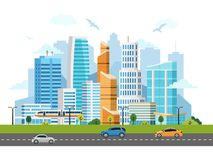 City downtown skyscrapers vector landscape. Buildings, skyscrapers and transport traffic royalty free illustration