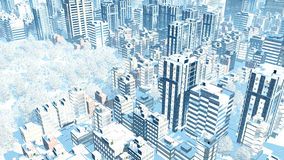 City downtown at snowfall winter day aerial view. Aerial view of abstract big city downtown with modern high rise buildings and snow covered park at slight vector illustration