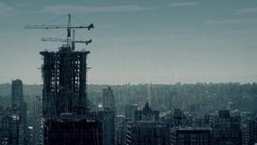 City In Dramatic Rainy Weather. Moody cityscape in heavy rainfall stock video footage