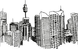 City drawing Stock Images