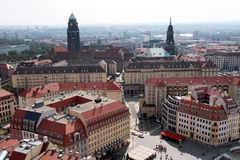 City of Dresden. Air view from the Frauenkirche to the historic city of Dresden Royalty Free Stock Photo