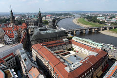 City of Dresden. Air view from the Frauenkirche to the river Elbe and the historic city of Dresden Stock Photo