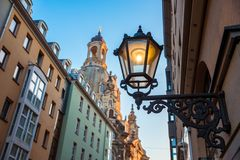 City of Dresden. Historical Center. Autumn evening in Dresden stock photos