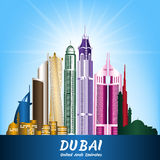 City of Dubai UAE Famous Buildings Stock Photos