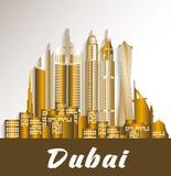 City of Dubai UAE Famous Buildings. Editable Vector Illustration Royalty Free Stock Photos