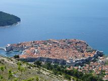 The city Dubrovnik with the city walls Royalty Free Stock Photos