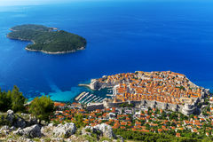 City of Dubrovnik. Croatia. South Dalmatia. Aerial view of Dubrovnik, medieval walled city (it is on UNESCO World Heritage List since 1979) and Lokrum Island ( royalty free stock images