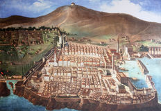 The city of Dubrovnik in medieval times stock image