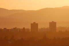 City in dusk Stock Image