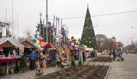 City dwellers buying Christmas decorations Royalty Free Stock Images