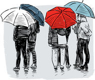 City dwellers in the rain Stock Photos
