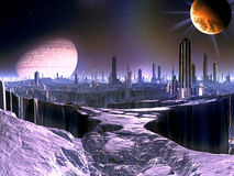 City on Dying Alien World with Satellite Ship in O Vector Illustration