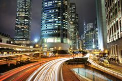 City Dynamic Night. Central, Hong Kong, at Night. The busiest place in the world royalty free stock photos