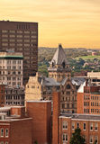 City in the early evening. Buildings in a city in early evening royalty free stock photos
