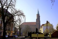 City in the early spring morning. Legnica, Poland in the march morning royalty free stock images