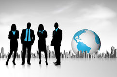 City, earth and business team Royalty Free Stock Image