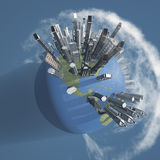 City Earth with Clouds Stock Photo