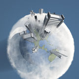 City Earth with Clouds Royalty Free Stock Photo